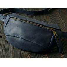 Поясна сумка з натуральної шкіри mb_024_blue_cr