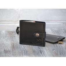 Шкіряне портмоне з монетницею та застібкою wa_006_black