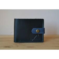 Шкіряне портмоне з монетницею та застібкою wa_006_black_blue