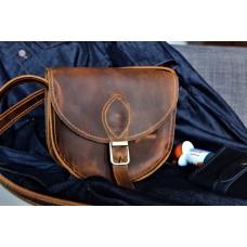 Жіноча сумка сідло з натуральної шкіри крейзі хорс з магнітом wb_002_whiskey