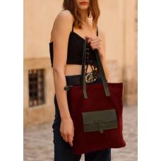 Жіноча сумка-пакет з кишенею  wb_075_bordo_green